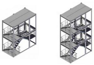 2-х и 3-х этажные лестничные блок модули